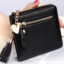 Women Wallets Small Fresh Tassel Zipper Pendant Short Money PU Leather Lady Coin Purses Female Fashion Card bag