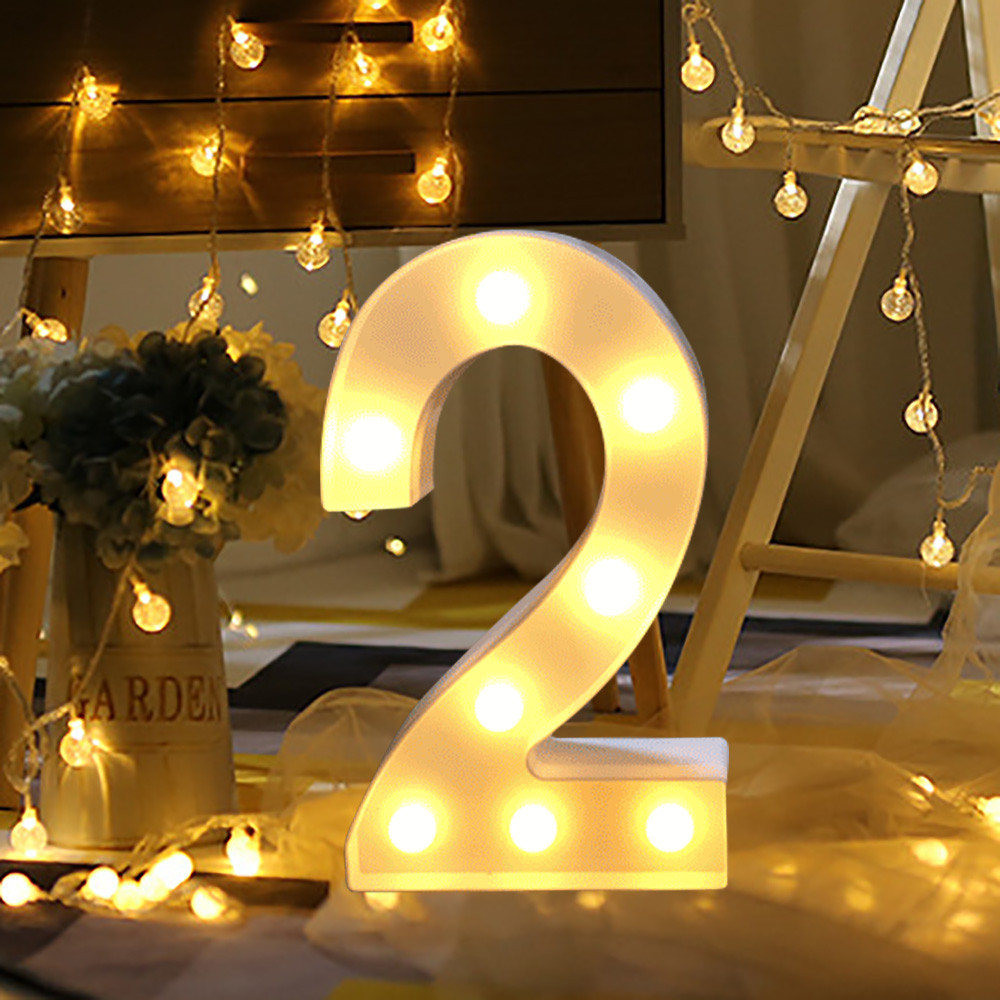 Alphabet LED Digital Lights Light Up White Plastic Digital Standing Hanging 0-9 #T2