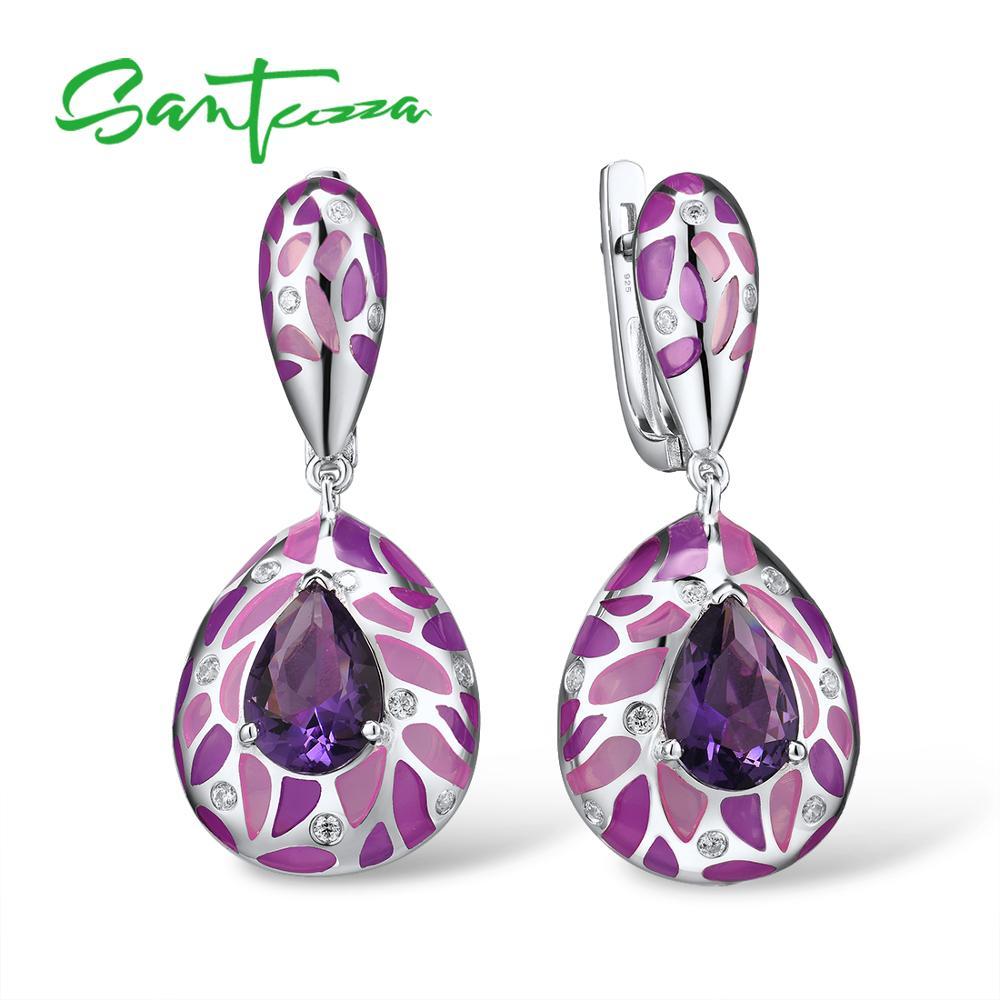 SANTUZZA Silver Earrings For Women Genuine 925 Sterling Silver Purple Stone Shiny White CZ Fine Jewelry Handmade Enamel