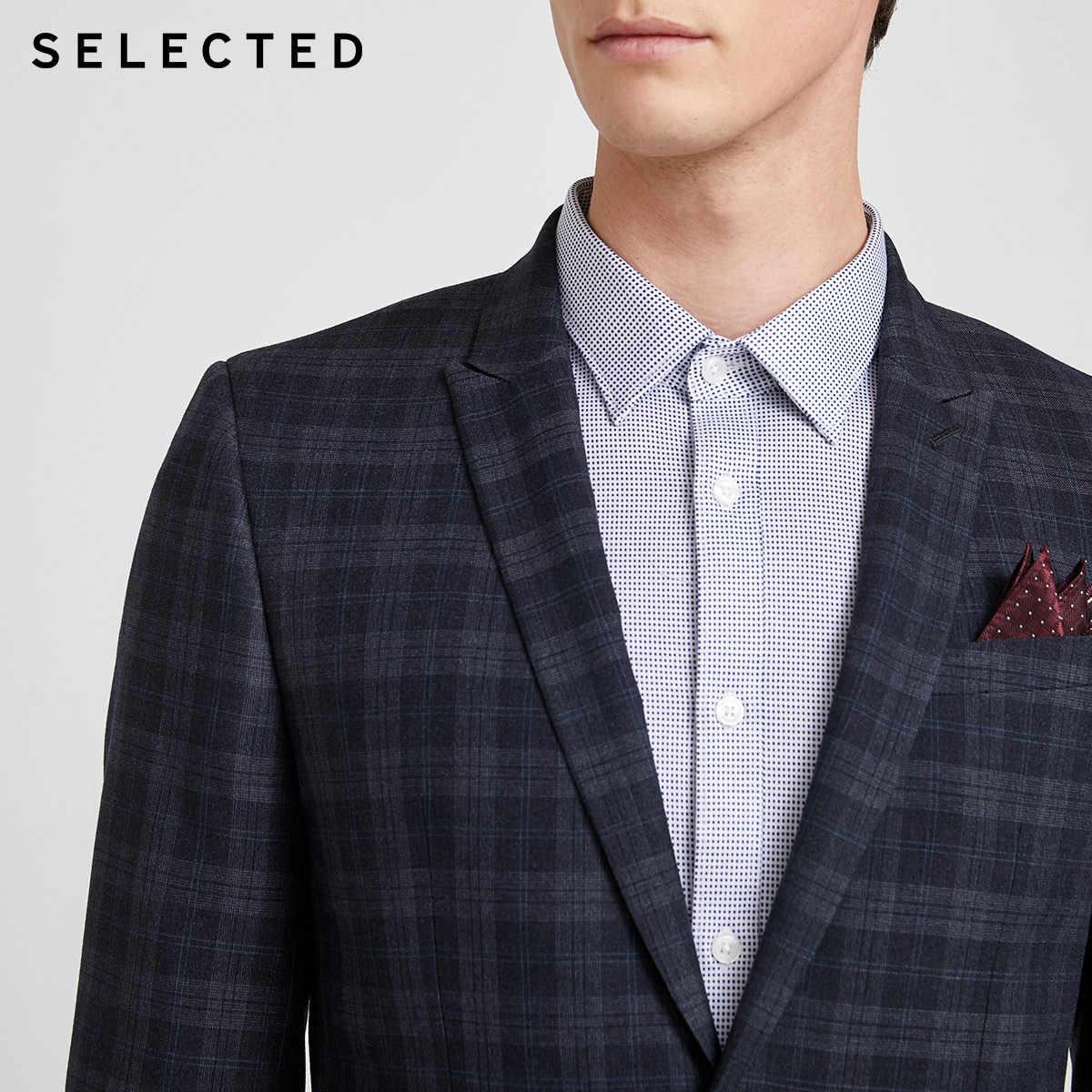 SELECTED 남성 슬림 피트 체크 블레이저 체크 무늬 레트로 비즈니스 자켓 SIG | 42015X501