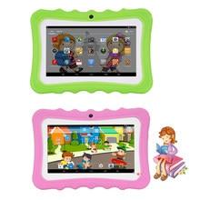 7 tablets tablets crianças tablets pc 1g + 16g quad-core wi-fi tablet-almofada para computador com caixa protetora de silicone à prova de choque para crianças presente educacional
