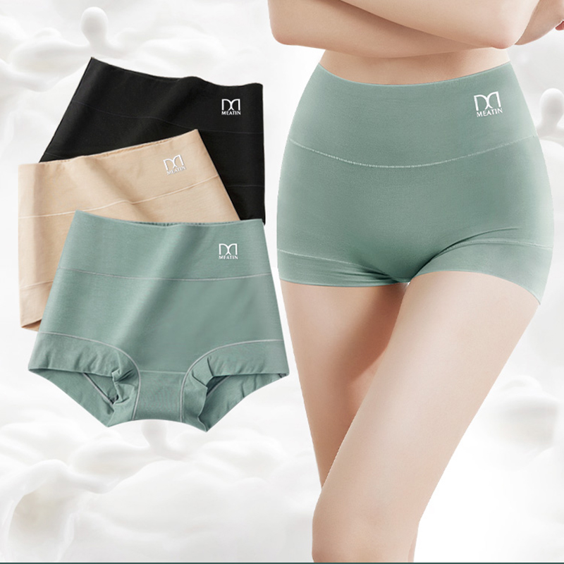 [3PCS/5PCS]/lot Women Silky Modal Panties Ladies High Waist Boyshort Breathable Soft Underwear Girls Briefs Safety Shorts Pants 1