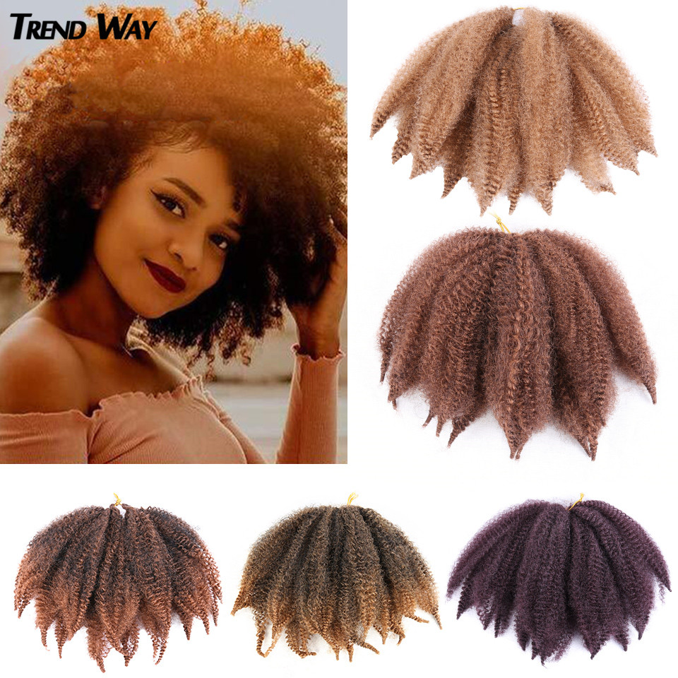 Braids Hair Afro Kinky Bulk Afro Curly Synthetic Hair Short 8inch Crochet Braiding Hair Extensions For American African Women