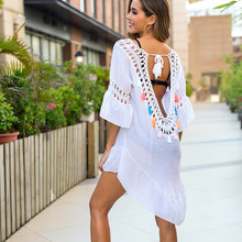 Ups Bikini Crochet-Sleeve Cover-Ups Beach-Dress Tunics White Women Summer for Backless