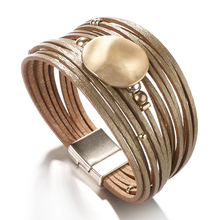 Amorcome Round Metal Sequin Charm Leather Bracelets for Women Trendy Boho Multilayer
