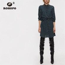 ROHOPO Lapel collar Top Buttons Fly Draped Waist Beige Polk Dot Navy Blue Dress Half Sleeve Elasticity Mini Vestido #2286