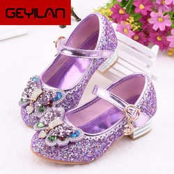 Girls High Heel Princess Shoes Children Butterfly Shoe Girls Glitter  Leather Shoe Kids Party Dress Wedding Party Shoes
