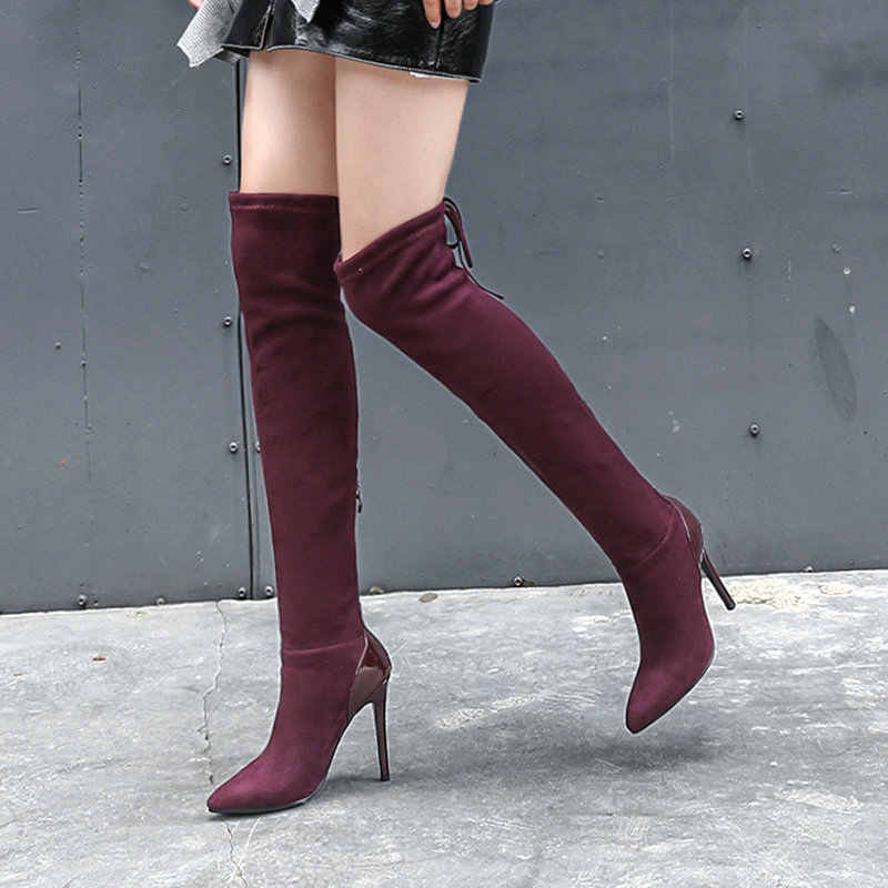 Back Zipper Over the Knee Boots