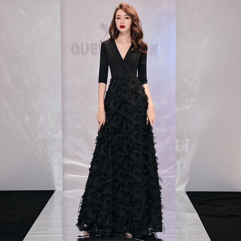 Sexy V-neck Formal Evening Dresses 2020 Half Sleeve Long Evening Dress Women Party Evening Gown Elegant Special Occasion Dress