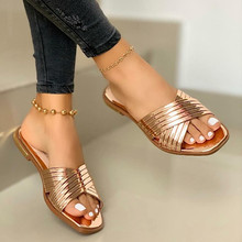 Summer Slides Fashion Bling Women Slippers Comfortable Outdoor Beach Sandals Leather Luxury Shoes Woman Slippers Plus Size 43