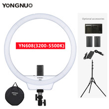 YONGNUO YN608 Studio Ring LED Video Fill Lights 3200-5500k Photography Lamp For Makeup Vlog TikTok Optional With Battery Tripod