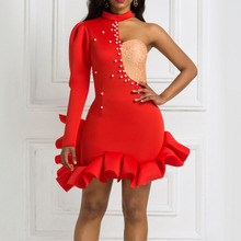 Sexy Halter Party Dress Women Summer Irregular Shoulder Hollow Out Beaded Ruffled Bodycon Mini Red Plus Size Vestidos