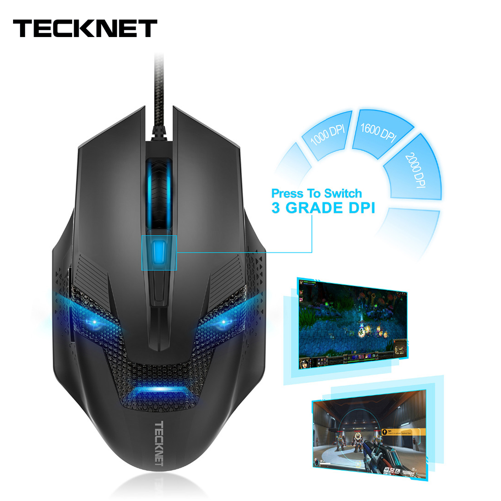 Image 5 - TeckNet Wired Gaming Mouse Ergonomic Mice 6 Button Optical Computer Mouse 2000dpi USB Wired PC Mouse for Computer Laptop PC-in Mice from Computer & Office