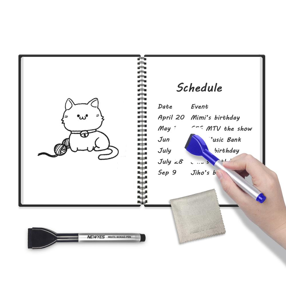 NEWYES A6 Portable Whiteboard Book Reusable Smart Erasable Memo Pad Mini Notebook Office Message Board Gift With 2 Erasable Pen