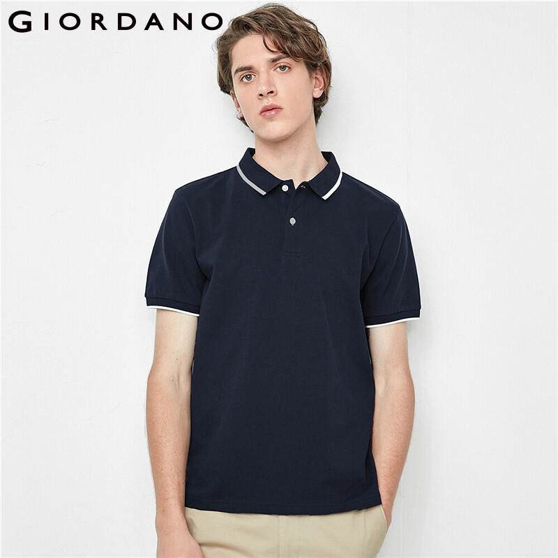 Giordano Men Polo Stretchy Pique Contrast Polo Shirts Breathable Mesh Structure Short Sleeves Camiseta Masculina 01010381