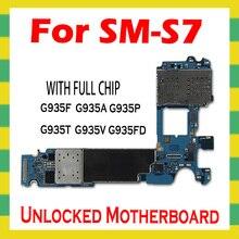 Original desbloquear mainboard para samsung galaxy s7 borda g935f g935p g935t g935v g935a g935fd g935w8 placa mãe lógica