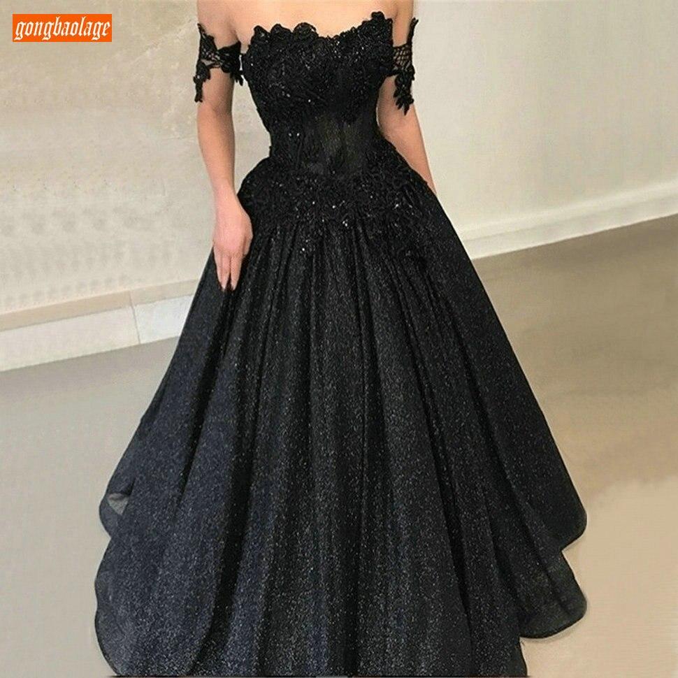 Délicat noir longues robes de soirée 2020 épaules nues appliqué dentelle robes de soirée personnalisé Sexy Gala robe formelle femmes fête