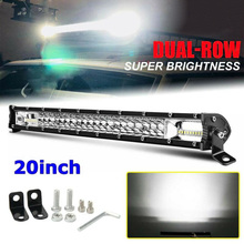 High Quality 12D Dual Row Ultra-Slim 20-Inch 60LED Light Bar 300W Driving Offroad Flood Lamp Super Waterproof Shockproof