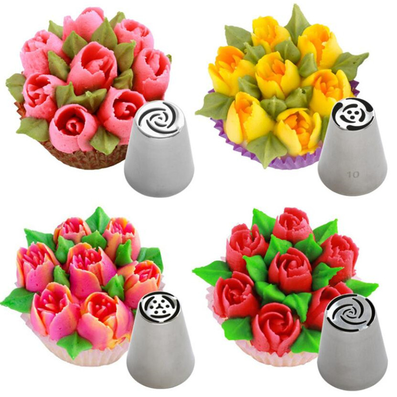 Molds Nozzles Flower-Cream Decorating-Tools Pastry-Tips Cupcake Tulip Russian Stainless-Steel