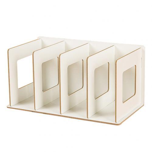 Простая многоярусная книжная полка 4 сетки оригинальная полка для хранения книжные мелочи DIY деревянный шкаф настольная подставка для книг домашняя детская книга - Цвет: Белый