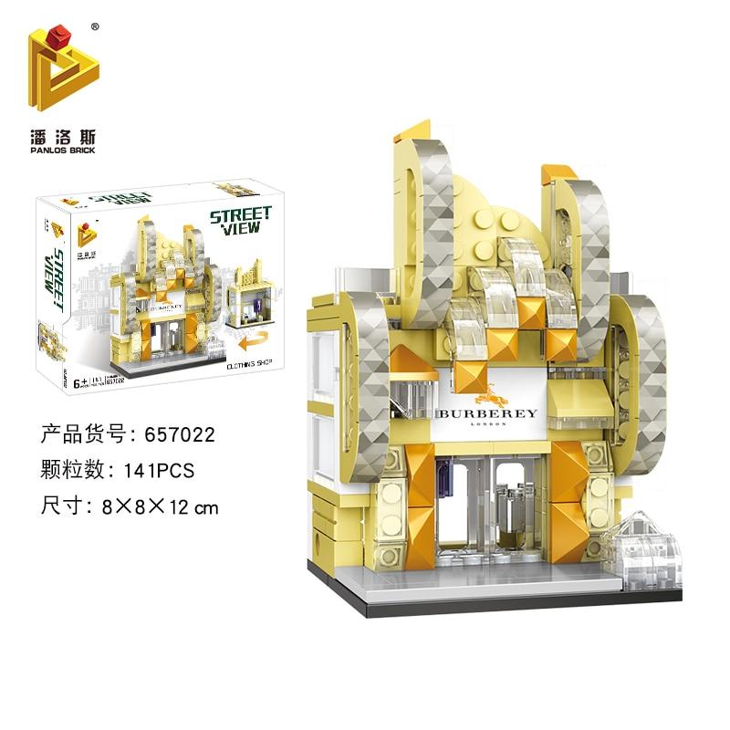 Mini Lego City Street View Block Retail Store Restaurant DIY Building Blocks Compatible lego technic Tech Building kids Toys - Цвет: 657022
