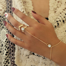 Gold Big Crystal Ring Bracelet For Women Wrist Chain Jewelry Fashion Hand Back Chain Bangles Female Arm Link Ornaments(China)