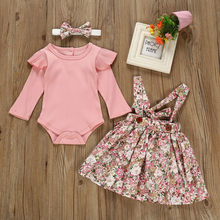 Newborn Baby Girl Clothes Outfits Ruffles Cotton Bodysuit Romper+Floral Suspender Skirt+Headband Suit Kids Girl Clothing Sets(China)