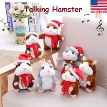 CHRISTMAS GIFTS Talking Hamster Walking Nodding Electric Children Plush Toys Speak Sound Record Hamster Xmas Kids Gifts