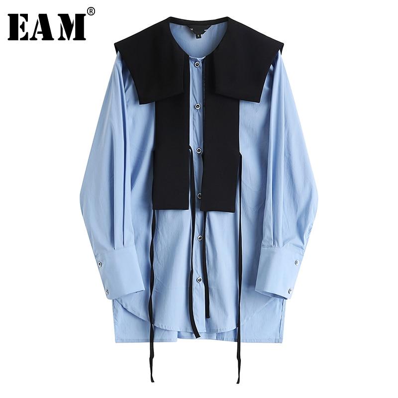 [EAM] Women Blue Contrast Color Split Temperament Blouse New Long Sleeve Loose Fit Shirt Fashion Tide Spring Autumn 2020 1S364