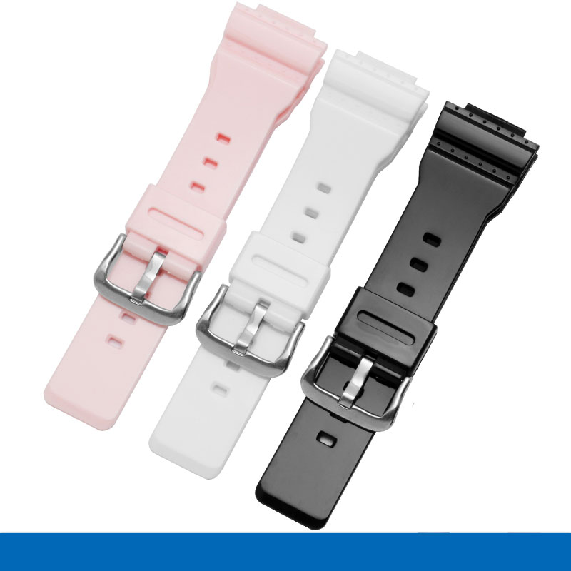 Soft silicone watch <font><b>band</b></font> black white and pink strap adaptation Casio G-SHOCK Series GMA-S110MP GW-M5610 <font><b>DW</b></font>-<font><b>5600</b></font> image