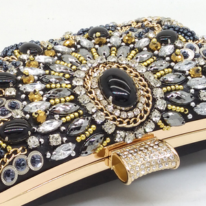 Image 3 - Boutique De FGG VINTAGEผู้หญิงสีดำBeadedคลัทช์กระเป๋าสุภาพสตรีกล่องโลหะClutchesงานแต่งงานค็อกเทลกระเป๋าถือกระเป๋าถือ