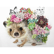 Diamond painting 5D DIY hedgehog with flowers embroidery mosaic picture artist home decoration gift
