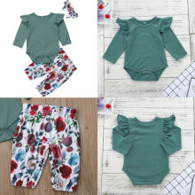 2019 Brand New 3PCS Autumn Infant Kids Baby Girls Clothes Sets Ruffles Sleeve Solid Romper Tops+Floral Print Pants+Headband