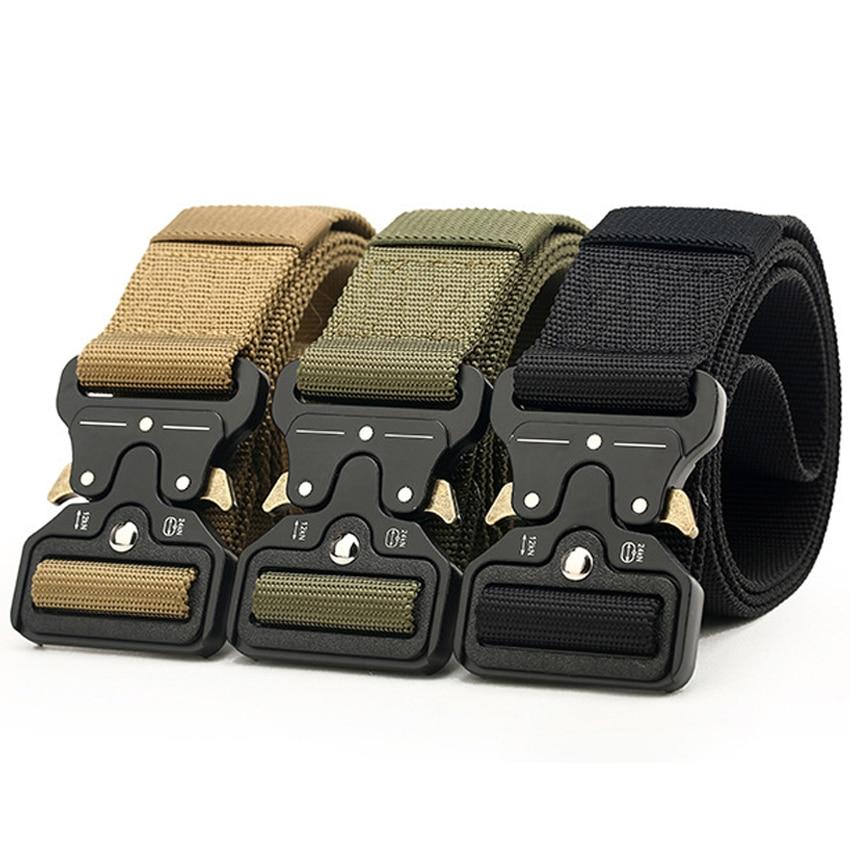 8 Type Army Canvas Belt Men Tactical Designer Belts For Jeans Pants Elastic Nylon 4.3 CM Wide Belt Black Metal Buckle Waist Belt