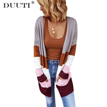цена на Cardigan Women 2019 Hot Autumn Winter  Fashion Knit Contrast Stripe Cardigan Casual Straight Bottom Sweater Pockets  D30