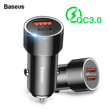 Baseus 36w USB Car Charger Quick Charge 3.0 QC QC3.0 Type C PD Fast Car Charging Charger For iPhone Samsung Xiaomi Mobile Phone(China)