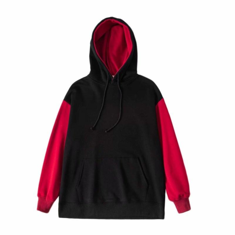 Winter New Street Fashion Loose Color Matching Drawstring Hooded Sweatershirt Women Loose Large Size Large Pocket Pullover Women