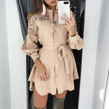 New Winter Elegant Dress Women 2019 Fashion Womens Casual Lace Boho Clothes O-neck Long Sleeve Mini
