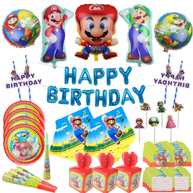 New Year 2020 Super Mario Disposable Tableware Paper Plates Napkins Cupcake Topper Baby Shower Party Supplies Wedding Decoration
