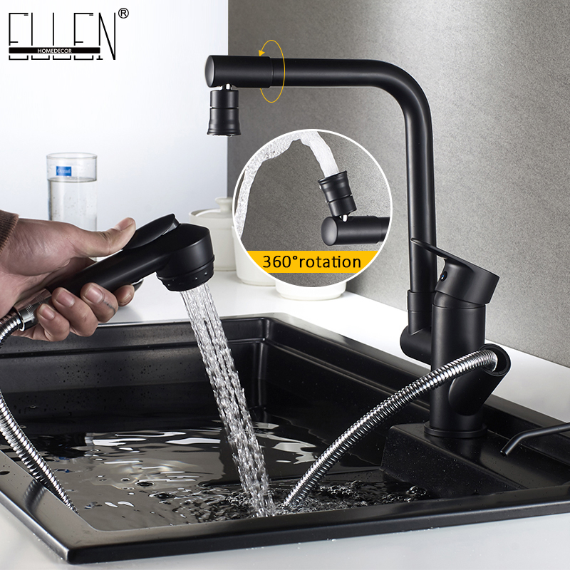 Pull Out Kitchen Sink Faucet Mixer Hot And Cold Water Tap Kitchen Crane Mixer 360 Swivel Chrome Black Faucets  ELF118