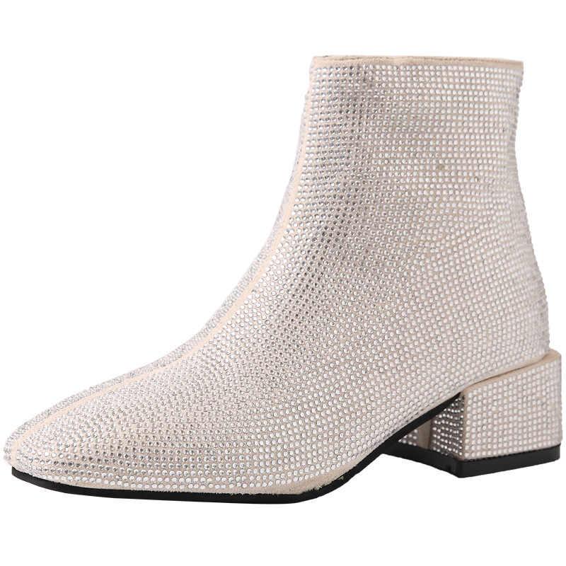 2020 Lovertjes doek korte enkellaarsjes vrouwen zilveren chunky hakken slip op vierkante teen glitter