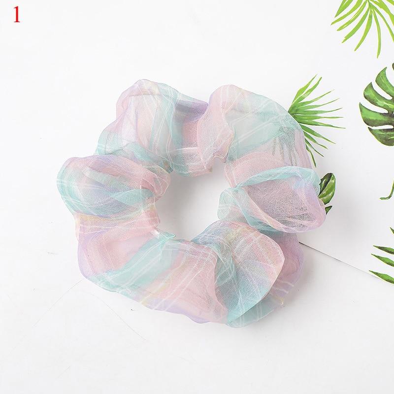 Organza Soft Elastic Hair Bands Scrunchie Sweet Chiffon Hair Tie Ropes Women Sweet Ponytail Holder Ladies Girls Hair Accessories