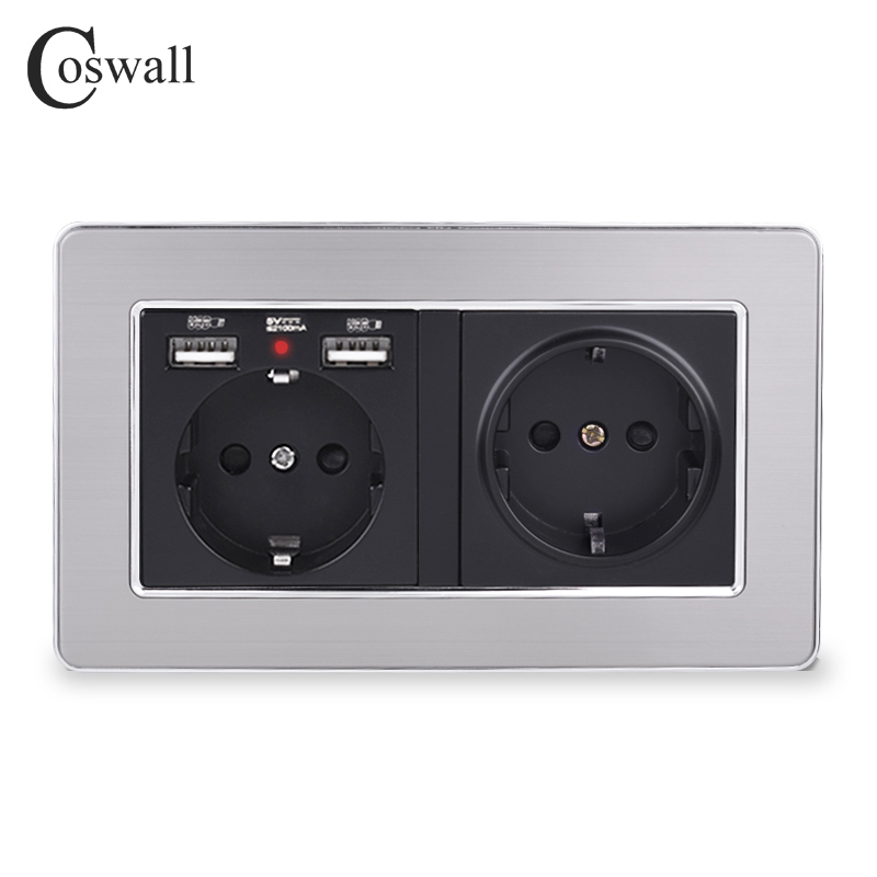 COSWALL Brand Double Russia Spain EU Standard Wall Socket With 2 USB Charge Port Hidden Soft LED Indicator Stainless Steel Frame