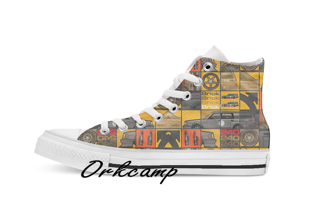 Volvo 240 245 Time Attack Track Wagon  Custom Casual High Top Lace-up Canvas Shoes Sneakers Drop Shipping