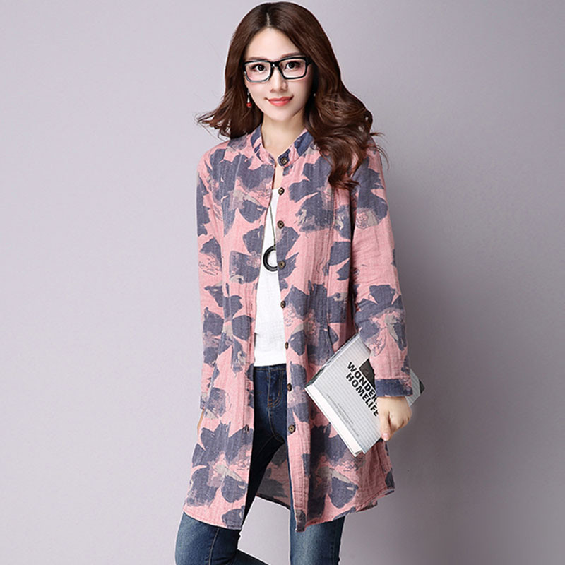 NIJIUDING Spring New Fashion Floral Print Cotton Linen Blouses Casual Long Sleeve Shirt Women Top With Pockets Women Women's Blouses Women's Clothings Color: Pink Size: XL