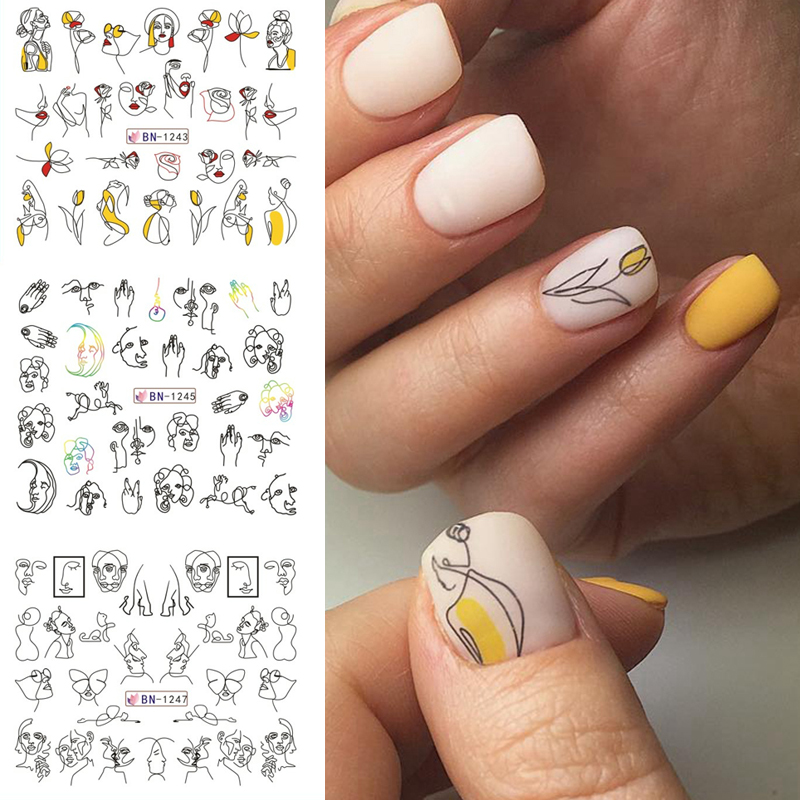 HNUIX 11/12 Patterns / Leaf Black Line Colorful Abstract Image Stickers Nail Girl Sexy Water Transfer Slider For Nail Art