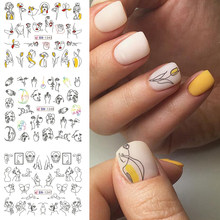 HNUIX 11/12 Patterns / Leaf Black Line Colorful Abstract Image Stickers Nail Girl Sexy Water Transfer Slider for Nail Art(China)