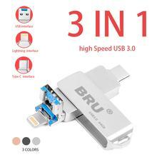 Iphone yıldırım ios OTG flash sürücü memory stick tip c pendrive c tipi USB Flash sürücü 16GB 32GB 64GB kalem sürücü usb3.0