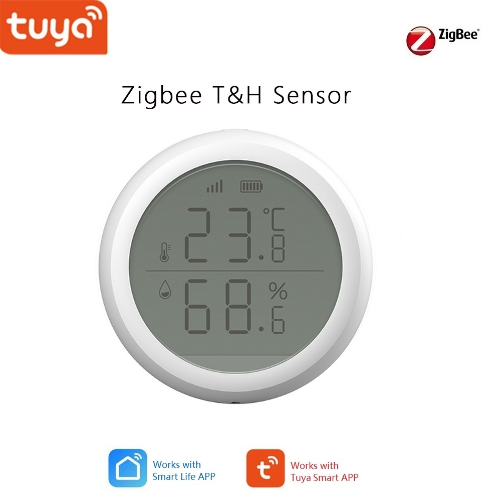 Tuya Zigbee smart Home Temperature & Humidity Sensor with Lcd screen, Support IFTTT function auto turn on TV  or air Cons.Smart Temperature Control System   -