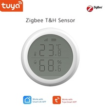 Tuya zigbee sensor de temperatura e umidade casa inteligente, com tela lcd, suporte se então função auto ligar na tv ou em cons air.